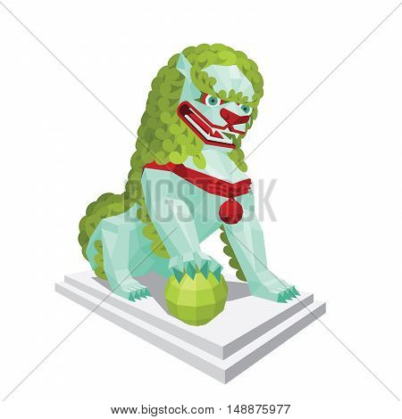 Polygonal tibetan light Lion with green mane. Legendary creature - Asian Lion in mixed style isolated on a white background. Vector illustration of modern polygonal tibetan lion for your design.