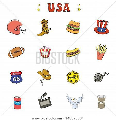 American Culture Icons or objectsdoodle vector illustration