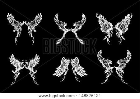 Set of Wings isolated on black backgroundhand drawing vector illustration.