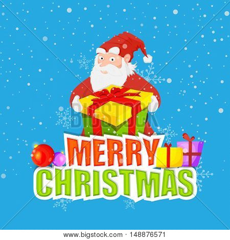 Santa Claus holding big gift box on sky blue background for Merry Christmas celebration.