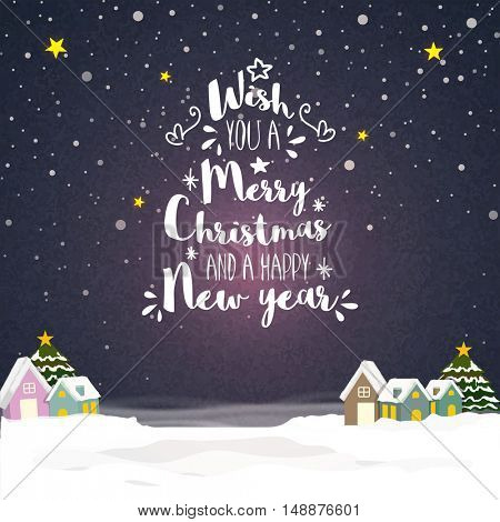 Merry Christmas and Happy New Year celebration greeting card design with small houses on winter background.