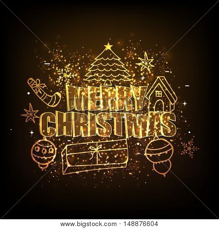 Golden xmas ornaments for Merry Christmas celebration concept.