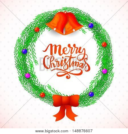 Creative Christmas wreath with jingle bells and colorful balls on shiny background.