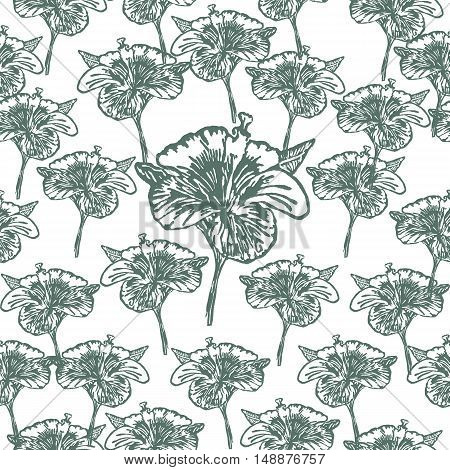 Linocut Hibiscus Flower on background. Vector Illustrated Hibiscus Flower seamless pattern.