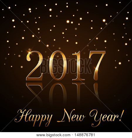 Happy New Year background with magic gold rain. Golden numbers 2017. Christmas design light vibrant glow and sparkle glitter. Symbol of wish celebration. Luxury decoration. Vector illustration