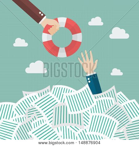 Drowning businessman getting lifebuoy. Overwork concept vector illustration