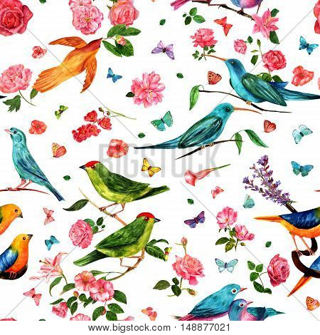 A seamless pattern with vintage style watercolor drawings of birds, flowers - roses, camellias, lilies, and others - and butterflies, hand painted on white background. Nature themed repeat print