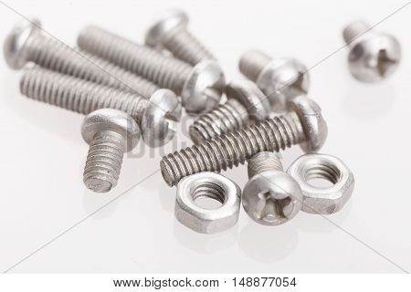 Nuts And Bolts Isolated On A White Background With Clipping Path