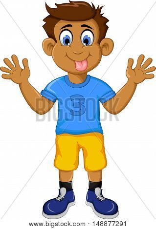 funny boy kid cartoon showing his tongue
