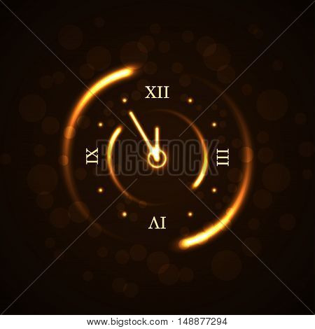 Gold christmas magic clock background. Golden shiny design with sparkles and glitter. Decoration for card greeting. Symbol of Happy New Year holiday countdown. Vector illustration