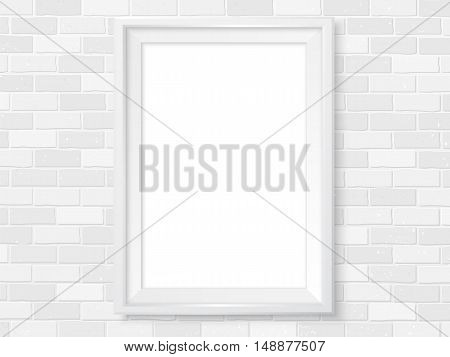Frame on white brick wall. Photoframe mock up. Empty frame for modern interior design. Isolated vector illustration. Realistic vector template for posters paintings or photos.