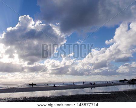 Sunset over a surf beach near Byron Bay