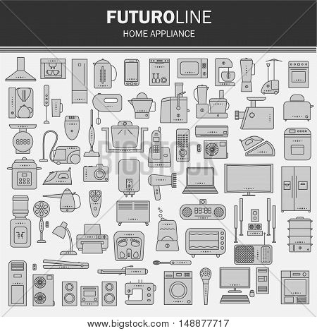 set of futuristic icons. appliances set in a linear style. infographics. vector illustration.