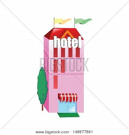 Icon pink hotel building on a white background. Vector illustration