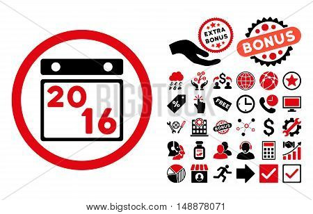 2016 Calendar pictograph with bonus elements. Glyph illustration style is flat iconic bicolor symbols, intensive red and black colors, white background.