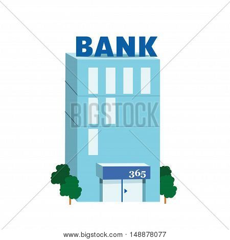 Icon blue bank building on white background. Vector illustration