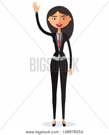 Smiling young asian girl waving her hand flat cartoon vector illustration. Eps10. Isolated on a white background.