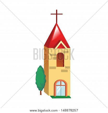 Icon yellow church building on a white background. Vector illustration