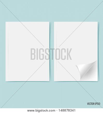 Blank catalog, magazines,book mock up on blue background. Vector illustration.