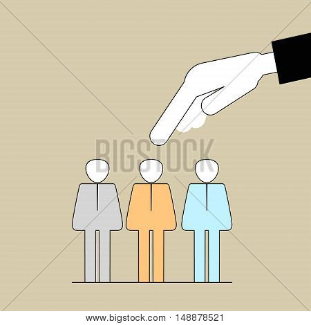 People Search . Hand picks a employee. Vector illustration of a flat line