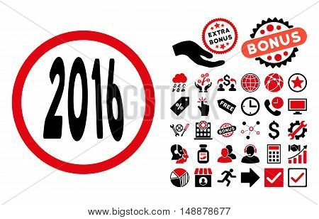 2016 Perspective icon with bonus symbols. Glyph illustration style is flat iconic bicolor symbols, intensive red and black colors, white background.