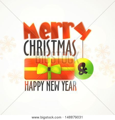 Elegant greeting card design with Stylish Text Merry Christmas and Happy New Year on snowflakes decorated white background.