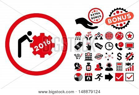 2016 Working Man icon with bonus clip art. Glyph illustration style is flat iconic bicolor symbols, intensive red and black colors, white background.