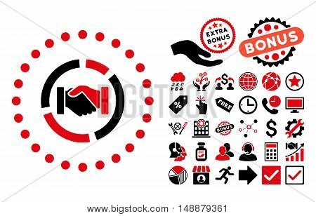 Acquisition Diagram pictograph with bonus pictures. Glyph illustration style is flat iconic bicolor symbols, intensive red and black colors, white background.