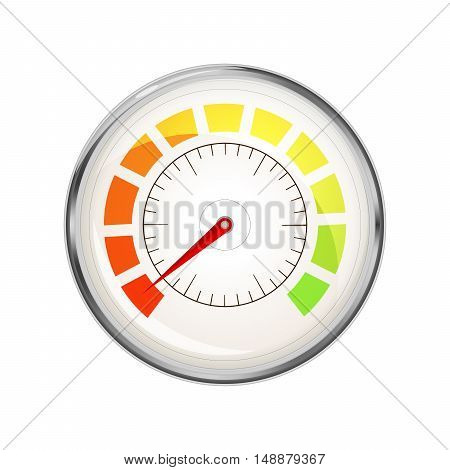 Performance measurement indicator with zero value glossy metal speedometer icon isolated on white