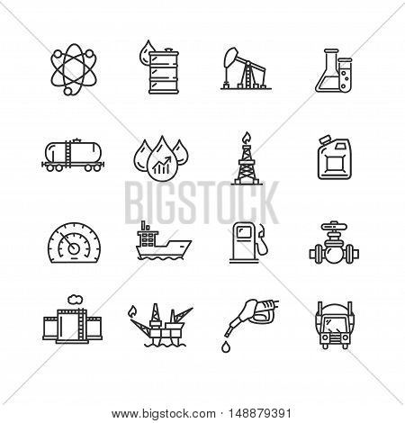 Oil Industry Outline Icon Set Pixel Perfect Art. Material Design. Vector illustration