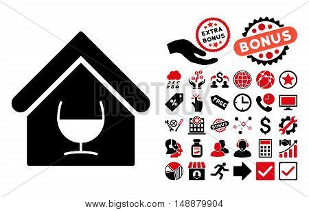 Alcohol Bar pictograph with bonus images. Glyph illustration style is flat iconic bicolor symbols, intensive red and black colors, white background.