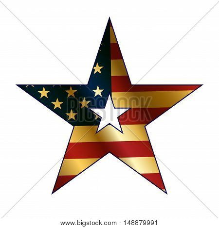 American flag in star sign with gold. Icon isolated on white background. Patriotic graphics. National design element for banner label. Symbol America freedom celebration. Vector illustration