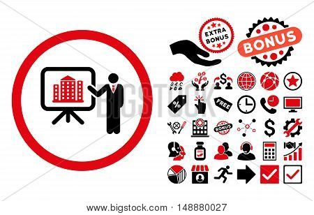 Architecture Presentation icon with bonus pictures. Glyph illustration style is flat iconic bicolor symbols, intensive red and black colors, white background.