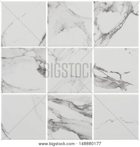 White marble-stone mosaic texture background, mosaic tile