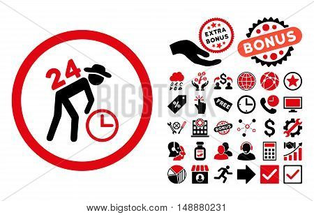Around the Clock Work icon with bonus design elements. Glyph illustration style is flat iconic bicolor symbols, intensive red and black colors, white background.