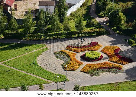 Top view of a flowerbed in Zelenogradof Moscow, Russia
