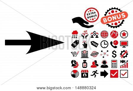 Arrow Axis X icon with bonus pictograph collection. Glyph illustration style is flat iconic bicolor symbols, intensive red and black colors, white background.