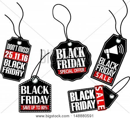 Black friday sale tag set vector illustration