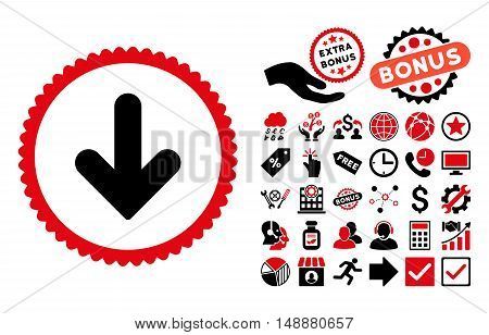 Arrow Down icon with bonus clip art. Glyph illustration style is flat iconic bicolor symbols, intensive red and black colors, white background.