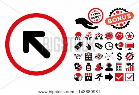 Arrow Left-Up icon with bonus design elements. Glyph illustration style is flat iconic bicolor symbols, intensive red and black colors, white background.