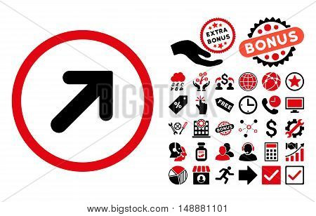 Arrow Right-Up icon with bonus elements. Glyph illustration style is flat iconic bicolor symbols, intensive red and black colors, white background.