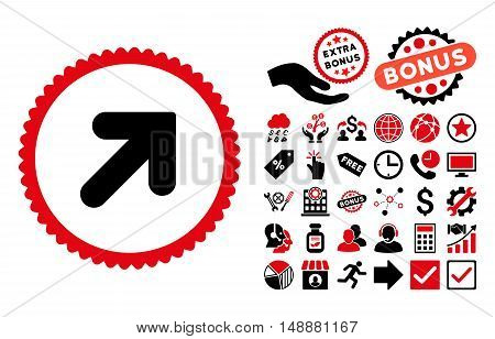 Arrow Up Right icon with bonus images. Glyph illustration style is flat iconic bicolor symbols, intensive red and black colors, white background.