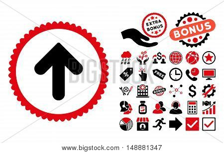 Arrow Up pictograph with bonus pictures. Glyph illustration style is flat iconic bicolor symbols, intensive red and black colors, white background.
