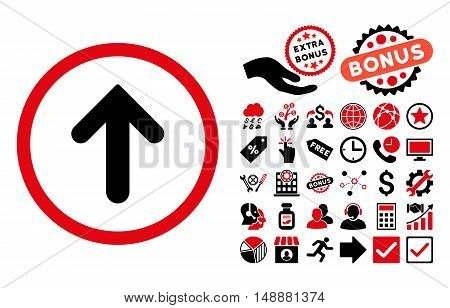 Arrow Up icon with bonus elements. Glyph illustration style is flat iconic bicolor symbols, intensive red and black colors, white background.