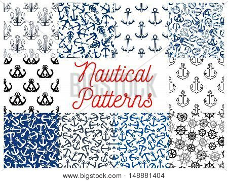Nautical anchor and steering wheel patterns. Wallpaper with vector icons and symbols of anchor on chain, ship steering wheel