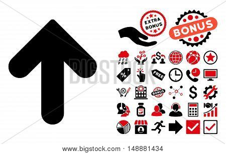 Arrow Up pictograph with bonus images. Glyph illustration style is flat iconic bicolor symbols, intensive red and black colors, white background.