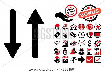 Arrows Exchange Vertical icon with bonus pictures. Glyph illustration style is flat iconic bicolor symbols, intensive red and black colors, white background.