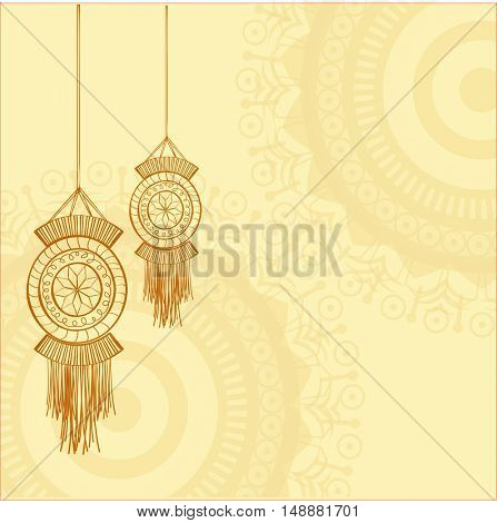 Elegant Greeting Card design decorated with hanging lamps (Kandil) for Indian Festival of Lights, Happy Diwali celebration.