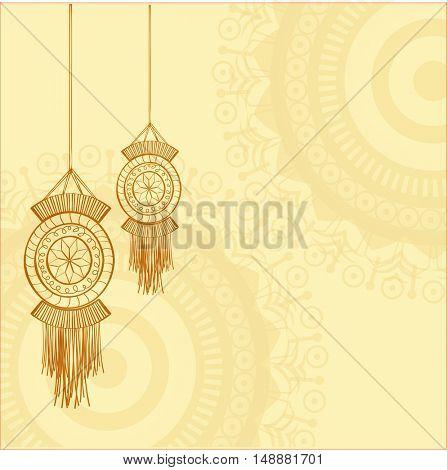Elegant Greeting Card design decorated with hanging lamps (Kandil) for Indian Festival of Lights, Happy Diwali celebration.