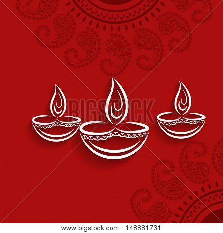 Elegant Greeting Card design with oil lamps (Diya) on floral design decorated red background for Indian Festival of Lights, Happy Diwali celebration.